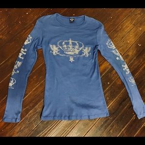 Sledge Long Sleeve Crown Blue Top Size Large